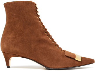 Sergio Rossi Embellished Lace-up Suede Ankle Boots