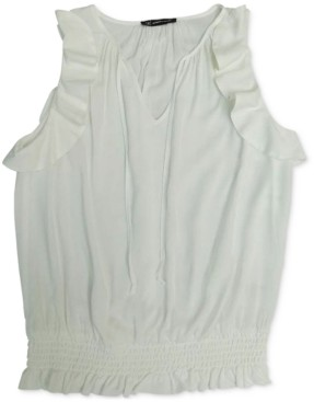 INC International Concepts Inc Sleeveless Smocked-Hem Top, Created for Macy's