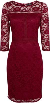 Wallis Berry Lace 3/4 Sleeve Dress