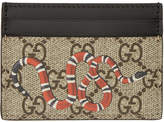 Gucci Beige and Black GG Supreme Snake Card Holder