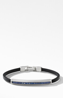 David Yurman Pave Leather ID Bracelet with Sapphires
