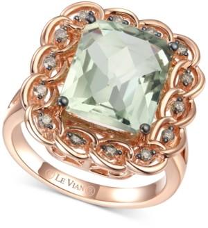 LeVian Le Vian Mint Julep Quartz (5-1/2 ct. t.w.) & Chocolate Diamond (1/4 ct. t.w.) Statement Ring in 14k Rose Gold