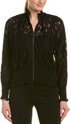 Rebecca Taylor Lace Silk-Trim Bomber Jacket