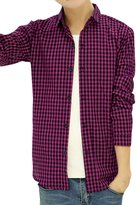 uxcell® Men Long Sleeves Point Collar Single Breasted Plaid Shirt S