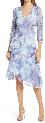 Komarov Floral Tiered V-Neck Dress