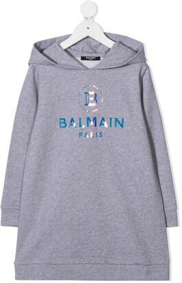 Balmain Kids Holographic Logo Hooded Dress