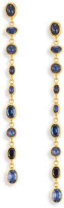 Gurhan Amulet Hue Sapphire & 24K Yellow Gold Long Drop Earrings