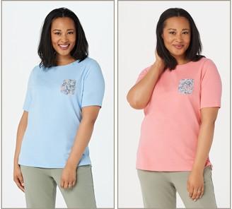 Quacker Factory Set of 2 Elbow Sleeve Pattern Pocket T-Shirts