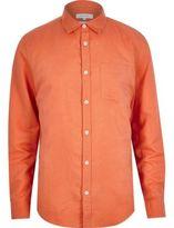 River Island MensOrange linen blend long sleeve shirt