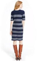 Tommy Hilfiger Button-Shoulder Mixed-Stripe Sweaterdress