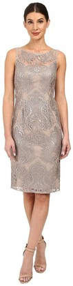 Adrianna Papell Women's Sequin Lace Sheath Dress with Illusion Neckline