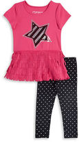 Flapdoodles Girls 2-6x Sueded Star Dress and Leggings Set