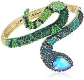"Betsey Johnson Garden of Excess"" Pave Snake Wrap Hinged Bangle Bracelet"