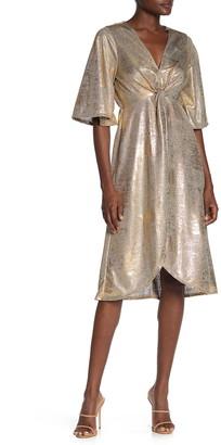Superfoxx Wrap Front Metallic Jersey Dress