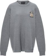 Rochas Bee-Brooch Oversized Wool Sweater