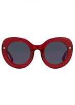 Matthew Williamson Red Oversized Curved Cat Eye Sunglasses