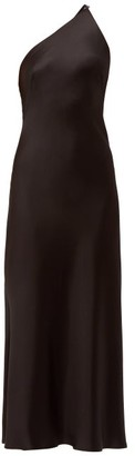 Galvan Roxy Asymmetric Silk-satin Dress - Black