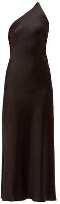 Galvan Roxy Asymmetric Silk-satin Dress - Womens - Black