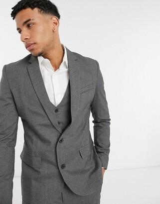 New Look skinny suit jacket in dark gray