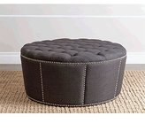Abbyson Living Naples Fabric Nailhead Trim Ottoman in Gray