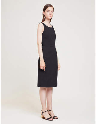 Givenchy Sleeveless draped-panel wool and silk-blend midi dress