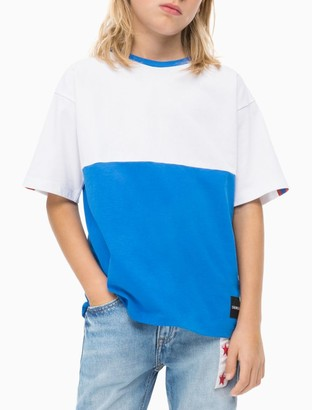 Calvin Klein Boys Oversized Colorblock Stripe Logo T-Shirt