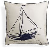 Silk Twill Painted Sailboat Pillow