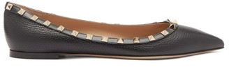 Valentino Rockstud Point-toe Leather Ballet Flats - Black