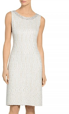St. John Structured Knit Sequin Detail Dress