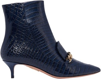 Aquazzura Editor Chain-trimmed Croc-effect Leather Ankle Boots