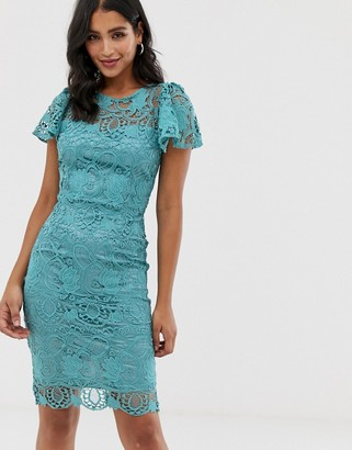 Paper Dolls scallop hem crochet lace short sleeve midi dress-Green