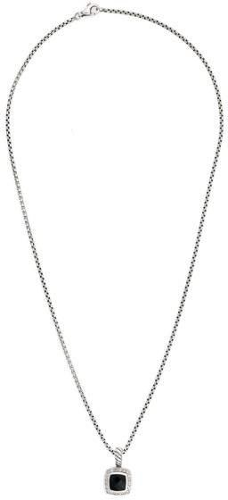 David Yurman Petite Albion 925 Sterling Silver Onyx and 0.17ct Diamond Pendant Necklace