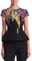 Oscar de la Renta Embroidered Peplum Silk Blouse