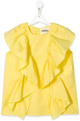 Touriste TEEN sleeveless ruffle-trimmed blouse