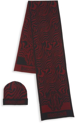 Roberto Cavalli 2-Piece Abstract Wool Blend Scarf & Beanie Set
