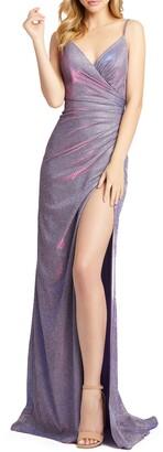 Mac Duggal Shimmer Jersey Column Gown