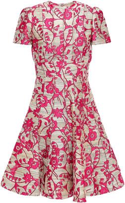 Valentino Fluted Floral-jacquard Dress