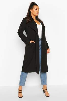 boohoo Plus Belted Waterfall Duster Coat