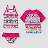 Floatimini Floatmini Toddler Girls' Floral 3-Piece Rashguard Set - Pink