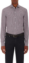Ermenegildo Zegna Men's Plaid Cotton-Silk Poplin Shirt-BURGUNDY