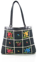 Isabella Fiore Black Canvas Multicolored Beaded Small Tote Handbag