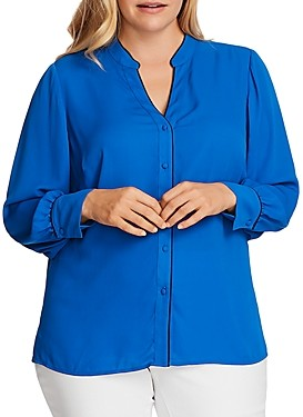 Vince Camuto Plus Button-Down Shirt with Piped Trim