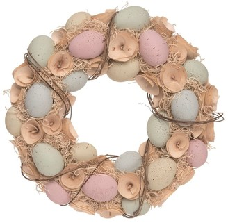 Transpac Wood 14 in. Brown Easter Curl and Egg Wreath