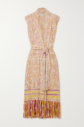 Gabriela Hearst + Net Sustain Tanoira Belted Fringed Cashmere Vest