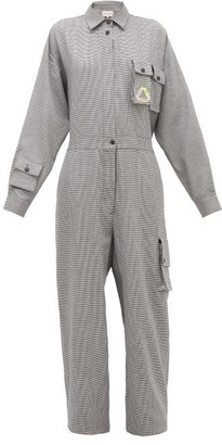 Natasha Zinko Houndstooth Cotton Jumpsuit - Grey