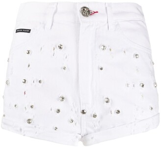 Philipp Plein High-Rise Crystal-Embellished Shorts