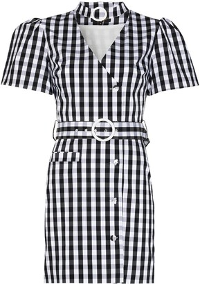 De La Vali Mila belted check-print dress