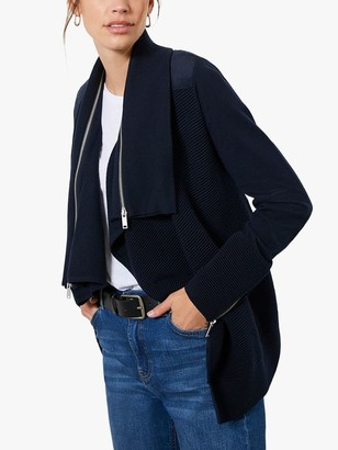 Mint Velvet Ribbed Longline Biker Cardigan, Dark Blue