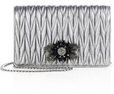 Miu Miu Delice Jeweled Matelasse Metallic Leather Clutch
