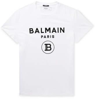 Balmain Slim-Fit Logo-Flocked Cotton-Jersey T-Shirt